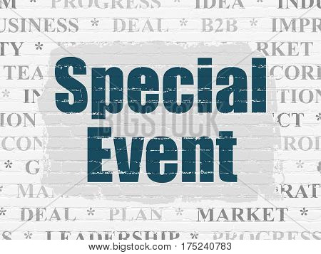 Business concept: Painted blue text Special Event on White Brick wall background with  Tag Cloud