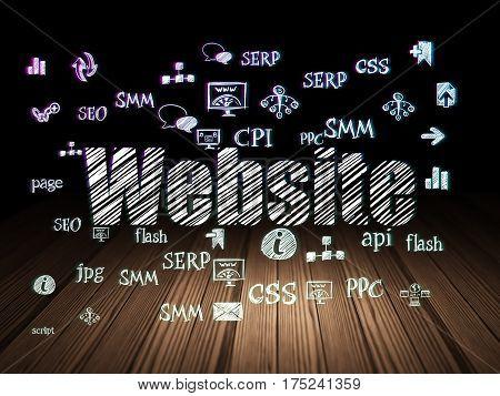 Web design concept: Glowing text Website,  Hand Drawn Site Development Icons in grunge dark room with Wooden Floor, black background