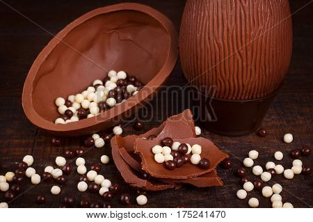 background, brown, candy, celebration, chocolate, confectionery, dark, decoration, design, dessert, easter, egg, eggs, food, happy, holiday, pastry, rustic, shape, sweet, symbol, table, texture, traditional, vintage, white, wood, wooden
