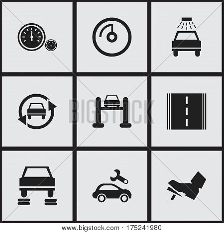 Set Of 9 Editable Car Icons. Includes Symbols Such As Treadle, Auto Service, Speedometer And More. Can Be Used For Web, Mobile, UI And Infographic Design.