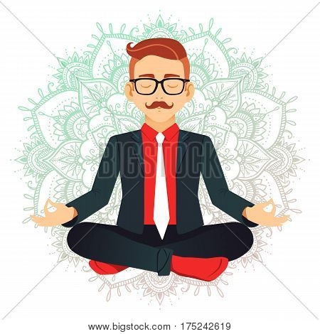 Vector Illustration Of Businessman Sitting In Lotus Pose. Meditating Office Worker On Dreamy Mandala