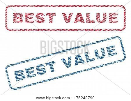 Best Value text textile seal stamp watermarks. Blue, red fabric vectorized texture. Vector caption inside rounded rectangular banner. Rubber sign with fiber textile structure.