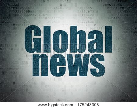 News concept: Painted blue word Global News on Digital Data Paper background