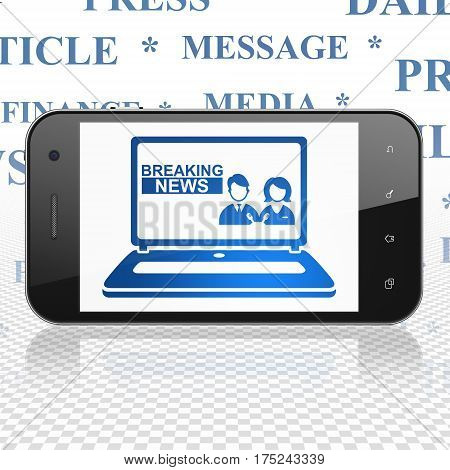 News concept: Smartphone with  blue Breaking News On Laptop icon on display,  Tag Cloud background, 3D rendering