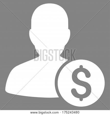 Investor vector pictogram. Illustration style is a flat iconic white symbol on gray background.