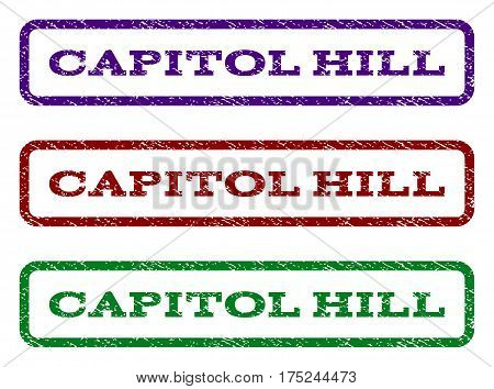 Capitol Hill watermark stamp. Text caption inside rounded rectangle with grunge design style. Vector variants are indigo blue, red, green ink colors. Rubber seal stamp with scratched texture.