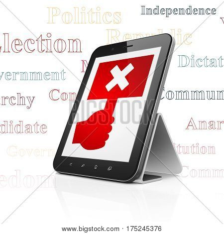 Politics concept: Tablet Computer with  red Protest icon on display,  Tag Cloud background, 3D rendering