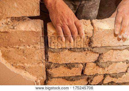 Flat Renovation, Master Agrees Brick On Brick, Says Partition Wall, Mortar On Bricks