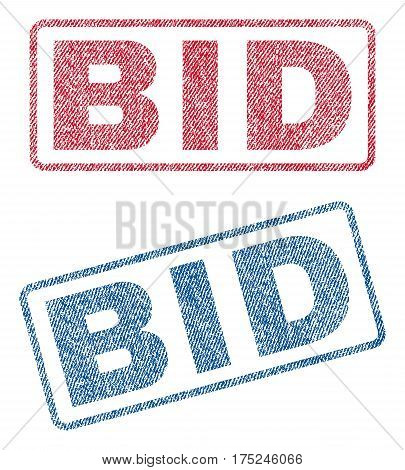 Bid text textile seal stamp watermarks. Blue, red fabric vectorized texture. Vector tag inside rounded rectangular banner. Rubber emblem with fiber textile structure.