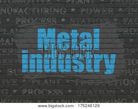 Industry concept: Painted blue text Metal Industry on Black Brick wall background with  Tag Cloud