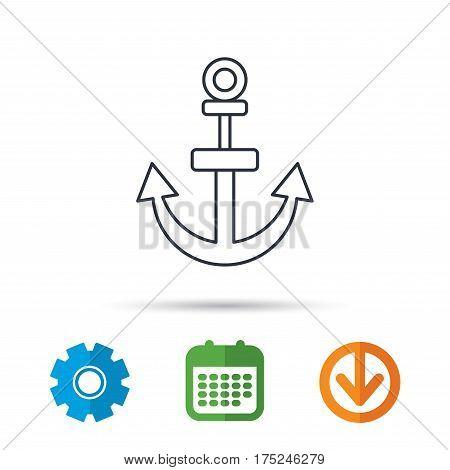 Anchor icon. Nautical drogue sign. Sea and sailing symbol. Calendar, cogwheel and download arrow signs. Colored flat web icons. Vector
