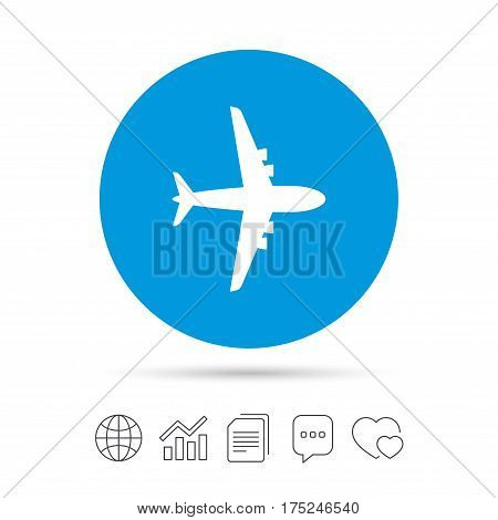 Airplane sign. Plane symbol. Travel icon. Flight flat label. Copy files, chat speech bubble and chart web icons. Vector