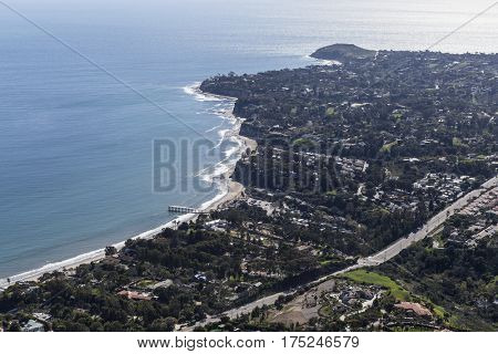 Aerial view towards Paradise Cove and Point Dume in Malibu, California.