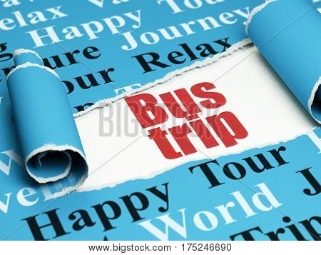 Tourism concept: red text Bus Trip under the curled piece of Blue torn paper with  Tag Cloud, 3D rendering