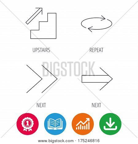 Arrows icons. Upstairs, next and repeat linear signs. Next arrow flat line icons. Award medal, growth chart and opened book web icons. Download arrow. Vector