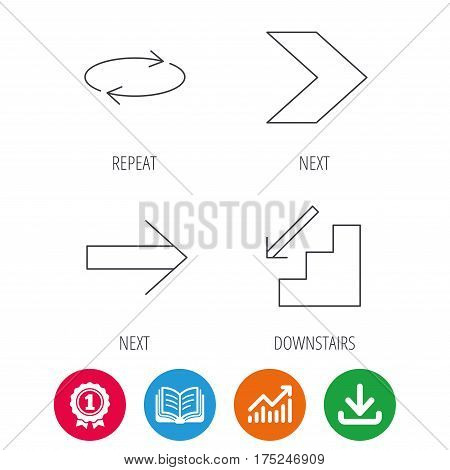 Arrows icons. Downstairs and repeat linear signs. Next arrow flat line icons. Award medal, growth chart and opened book web icons. Download arrow. Vector