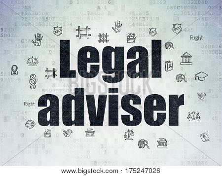 Law concept: Painted black text Legal Adviser on Digital Data Paper background with  Hand Drawn Law Icons