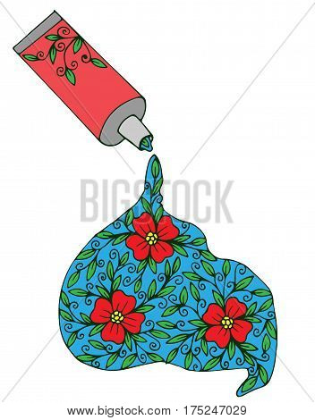 Isolated vector paint tube with red flower and leaves on the white background. Black line design for coloring book with open tube and flower.