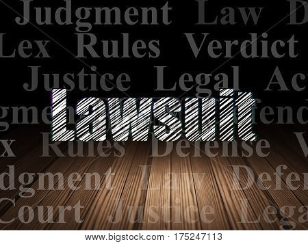 Law concept: Glowing text Lawsuit in grunge dark room with Wooden Floor, black background with  Tag Cloud