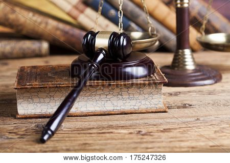 Mallet, legal code and statue of justice, Law concept