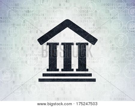 Law concept: Painted black Courthouse icon on Digital Data Paper background with Scheme Of Hand Drawn Law Icons