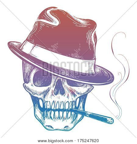 Colorful gangster human skull with cigarette sketch vector