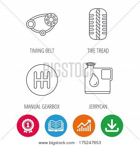 Wheel, manual gearbox and timing belt icons. Fuel jerrycan, manual transmission linear signs. Award medal, growth chart and opened book web icons. Download arrow. Vector