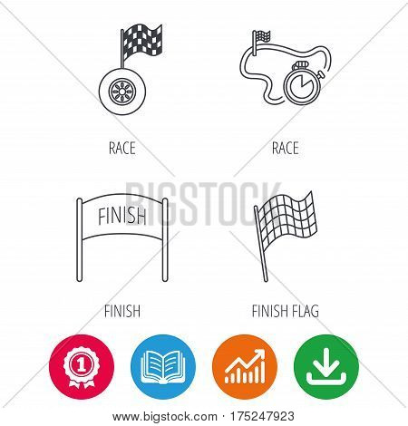 Finish flag, race timer and wheel icons. Race track linear sign. Award medal, growth chart and opened book web icons. Download arrow. Vector