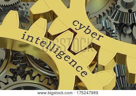 Cyber Intelligence concept on the gearwheels 3D rendering