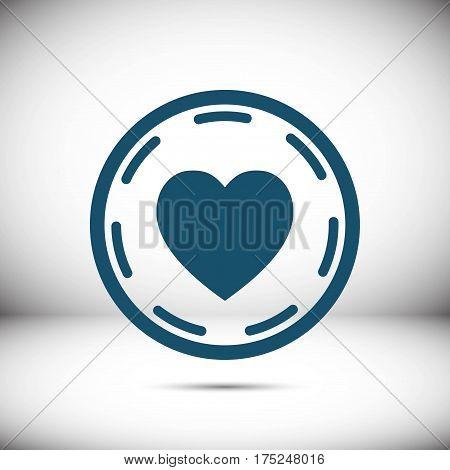 heart in circle icon stock vector illustration flat design