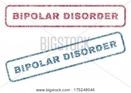 Bipolar Disorder text textile seal stamp watermarks. Blue, red fabric vectorized texture. Vector caption inside rounded rectangular shape. Rubber emblem with fiber textile structure.