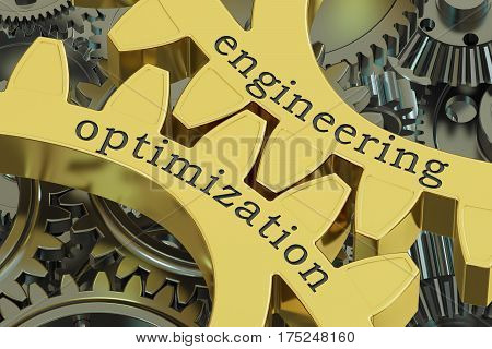 Engineering Optimization concept on the gearwheels 3D rendering