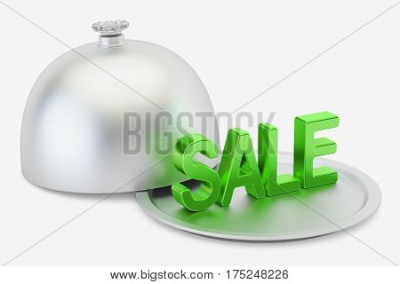 Restaurant cloche with sale inscription 3D rendering