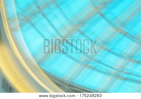 Blue motion blur texture for background. Abstract light effects of stained glass window by low speed shutter and long exposure shot.