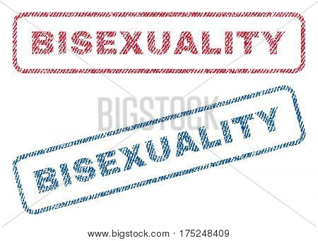 Bisexuality text textile seal stamp watermarks. Blue, red fabric vectorized texture. Vector tag inside rounded rectangular banner. Rubber emblem with fiber textile structure.