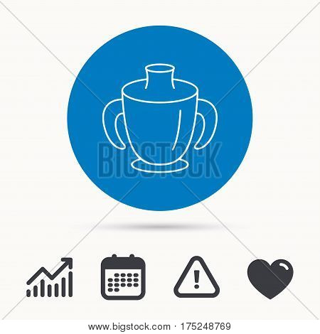Toddler spout cup icon. Baby mug sign. Flip top feeding bottle symbol. Calendar, attention sign and growth chart. Button with web icon. Vector