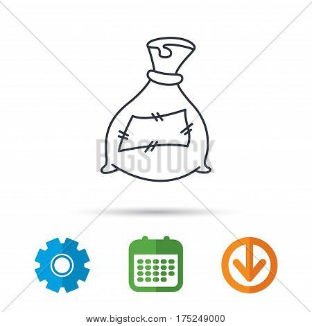 Bag with fertilizer icon. Fertilization sack sign. Farming or agriculture symbol. Calendar, cogwheel and download arrow signs. Colored flat web icons. Vector