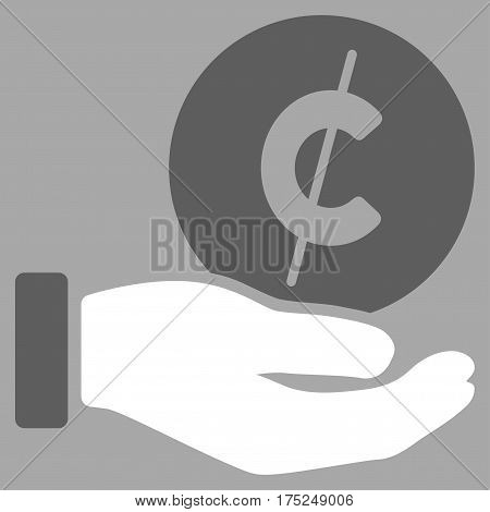 Cent Payment Hand vector pictograph. Illustration style is a flat iconic bicolor dark gray and white symbol on silver background.