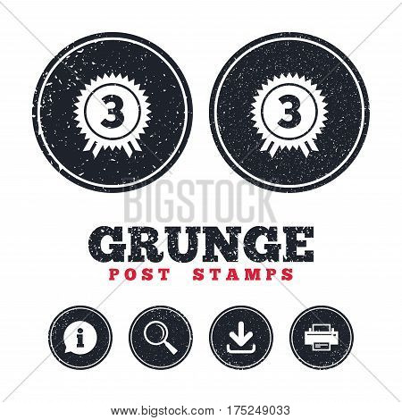 Grunge post stamps. Third place award sign icon. Prize for winner symbol. Information, download and printer signs. Aged texture web buttons. Vector