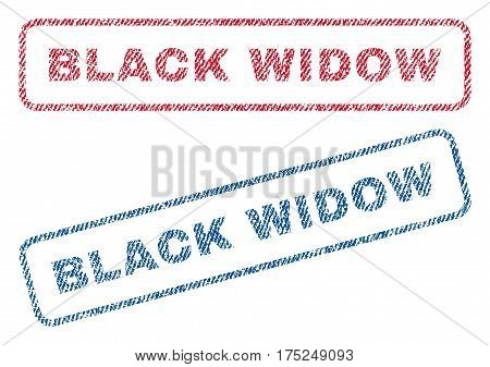 Black Widow text textile seal stamp watermarks. Blue, red fabric vectorized texture. Vector tag inside rounded rectangular shape. Rubber sign with fiber textile structure.
