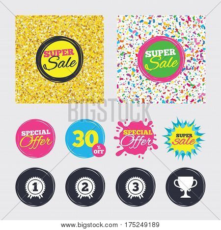 Gold glitter and confetti backgrounds. Covers, posters and flyers design. First, second and third place icons. Award medals sign symbols. Prize cup for winner. Sale banners. Special offer splash