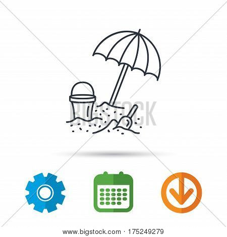 Beach umbrella in sand icon. Bucket with shovel sign. Baby summer games symbol. Calendar, cogwheel and download arrow signs. Colored flat web icons. Vector