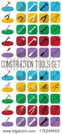 Construction tools set in different style: outline black and white silhouette colorfull and isometric. Modern industrial instrumen icons.