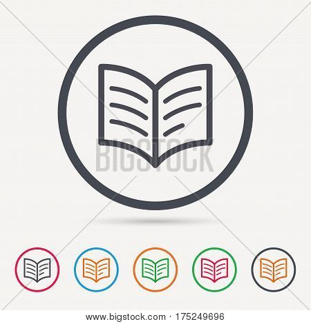Book icon. Study literature sign. Education textbook symbol. Round circle buttons. Colored flat web icons. Vector