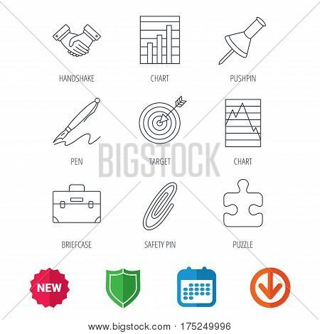 Handshake, graph charts and target icons. Puzzle, pushpin and safety pin linear signs. Briefcase and pen flat line icons. New tag, shield and calendar web icons. Download arrow. Vector