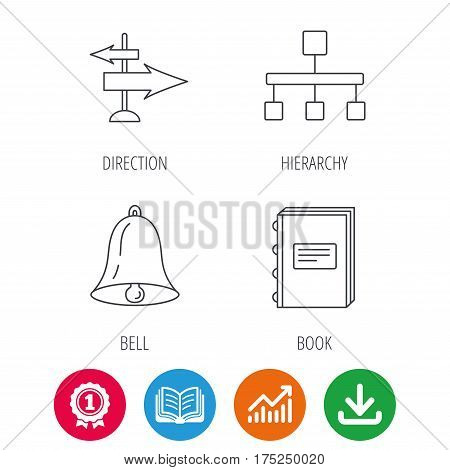 Book, hierarchy and direction arrows icons. Alarm bell linear sign. Award medal, growth chart and opened book web icons. Download arrow. Vector