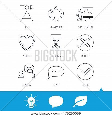 Teamwork, presentation and dialog icons. Chat speech bubble, shield and pyramid linear signs. Check, delete and hourglass flat line icons. Light bulb, speech bubble and leaf web icons. Vector