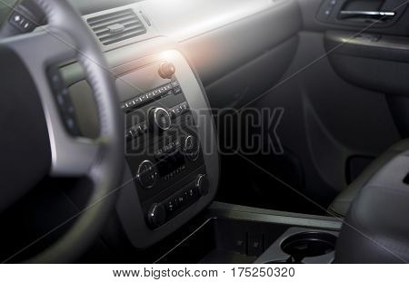Clean Modern Car Interior. Car Wash and Vehicle Interior Cleaning and Detailing Photo Concept
