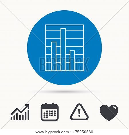 Chart icon. Graph diagram sign. Demand reduction symbol. Calendar, attention sign and growth chart. Button with web icon. Vector