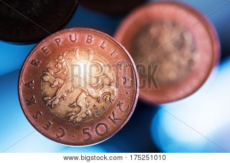 Czechia Koruna Coins. Czech Republic Currency and Economy Concept.